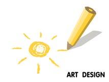 Drawing sun pencil. art design Stock Photo