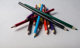 Drawing supplies: assorted color pencils Stock Photography