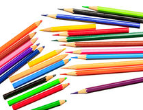 Drawing supplies: assorted color pencils on white Stock Photography