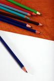 Drawing supplies focus on pencil tip Royalty Free Stock Photos