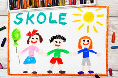 Drawing: Swedish word SCHOOL and happy children. Photo of colorful drawing: Swedish word SCHOOL and happy children. First day at school Royalty Free Stock Images