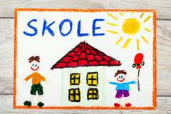 Drawing: Swedish word SCHOOL, school building and happy children. First day at school. Stock Photos