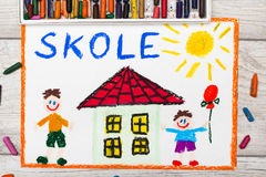 Drawing: Swedish word SCHOOL, school building and happy children. Photo of colorful drawing: Swedish word SCHOOL, school building and happy children. First day Stock Photography