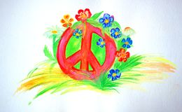 Symbol of peace in the field flowers. Drawing. The symbol of peace is a patient. Pacifism and flowers. Strawberry clearings forever. Red symbol of the world Stock Image