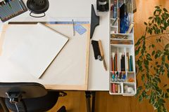 Drawing Table for artists Royalty Free Stock Photo