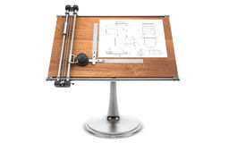 Drawing table with project blueprint isolated on white with clip Stock Photo