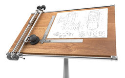 Drawing table with project blueprint isolated on white with clip Royalty Free Stock Photography