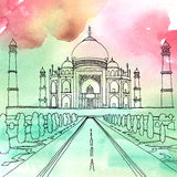 Drawing of the Taj Mahal. Agra, India. Watercolor and pen drawing of the Taj Mahal. Agra, India Stock Photo