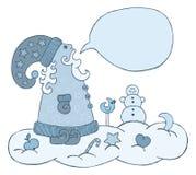 Drawing of talking Santa. Drawing of cartoon style talking Santa on the snow cloud Royalty Free Stock Photos