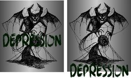Drawing for tattoo or t-shirts demon and a man entangled in depression. Art drawing for tattoo or t-shirts demon and a man entangled in depression stock illustration