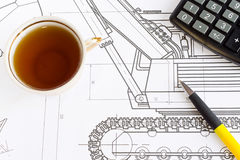 Drawing and tea Stock Image