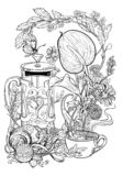 Drawing of tea, croissant, flowers and herbs. Coloring page royalty free illustration