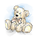 Drawing Teddy Bear with bow Royalty Free Stock Photography