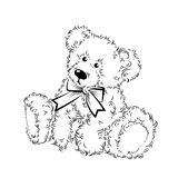 Drawing Teddy Bear with bow Stock Image