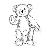 Drawing Teddy Bear with bow Stock Images