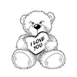 Drawing Teddy Bear with heart Royalty Free Stock Photos