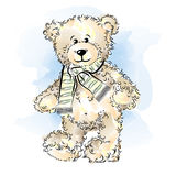 Drawing Teddy Bear with scarf Stock Photos