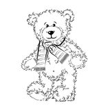 Drawing Teddy Bear with scarf Royalty Free Stock Images