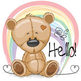 Drawing Teddy. Cute Drawing Teddy bear on a rainbow background Royalty Free Stock Images