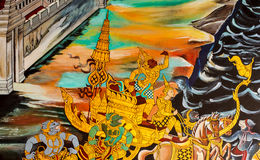 Drawing in temple Thailand Royalty Free Stock Images