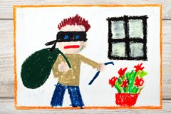 Drawing: Thief with mask and big bag, standing next to window. Photo of colorful drawing: Thief with mask and big bag, standing next to window. Home robbery royalty free stock photos