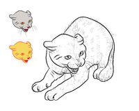 Drawing of threaten cat. With two separated head on white background Royalty Free Stock Image