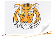 Drawing tiger. Drawing of a tiger a brush paints on a paper Royalty Free Stock Images