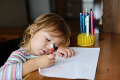 Drawing toddler Royalty Free Stock Images