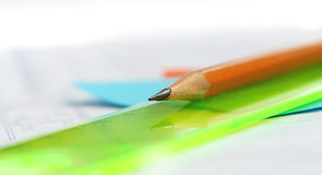 Drawing tools. Pencil Lead pencil Time-table Block-letter Draft Royalty Free Stock Photography