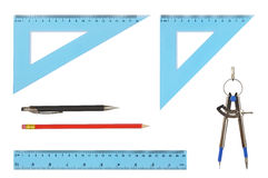 Drawing Tools. Set of geometry tools isolated on white Stock Photo