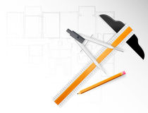 Drawing Tools. On an architectural plan Stock Photo