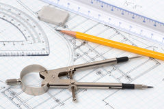 Drawing Tools. Architect tools compass ruler graph paper Stock Photo