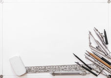Drawing tools on a background of white sheet Stock Image