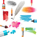 Drawing tools and banners painted by them Royalty Free Stock Photo