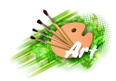Drawing tools cartoon elements colorful vector concept. Art supplies: palette, brushes, watercolor background. Drawing vector illustration