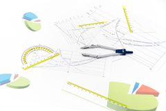 Drawing tools with compass Royalty Free Stock Photos