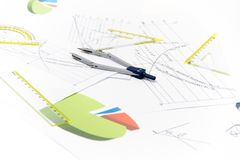 Drawing tools with compass Stock Photography