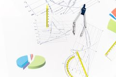 Drawing tools with compass Stock Photos