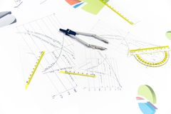 Drawing tools with compass Royalty Free Stock Photography