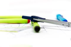 Drawing tools with compass Royalty Free Stock Image
