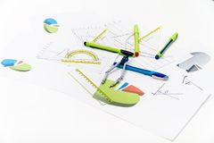 Drawing tools with compass Stock Photo