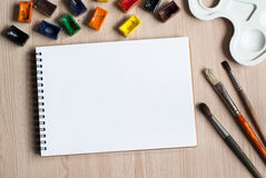 Drawing tools on a desk Stock Image