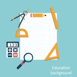 Drawing tools. Education background. Set of rulers, compass, magnifying glass, a calculator, a pencil. Leaf with space for text Royalty Free Stock Photo