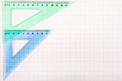 Drawing tools on graph paper Stock Photography
