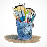 Drawing tools holder sketch. Decorative drawing tools accessoires holder with flat fan paintbrush and pen poster doodle sketch vector isolated illustration Royalty Free Stock Images