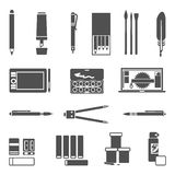 Drawing Tools Icon Set Royalty Free Stock Photo
