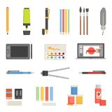 Drawing Tools Icons Flat Set Royalty Free Stock Photography