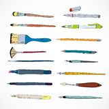 Drawing tools icons sketch Stock Photography