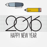 2016 and Drawing tools, New Year and Christmas flat line design. Concept for greeting card and banner. Vector illustration Stock Photo