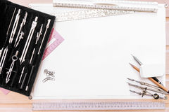 Free Drawing Tools On A Background Of White Sheet Stock Photos - 81243603